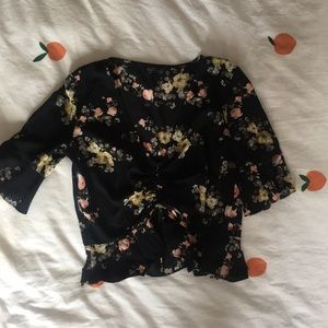 Topshop rouched floral crop top